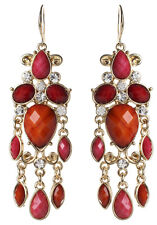 NWT Amrita Singh Real Housewives Coral Fuchsia Hamptons Dazzle Earrings ERC 5148