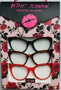BETSEY JOHNSON 3-PACK READING GLASSES READERS +1.50+2.00+2.50 NEW AUTHENTIC