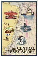 The Central Jersey Shore Nautical Chart, Carousel etc. - New Modern Map Postcard