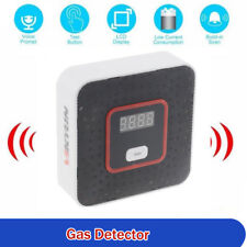 LCD Light Gas Leak Detector Alarm Sensor Voice Tester for Home Security Black