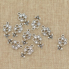 10pcs Bee and Honey Comb Pendants Charms Silver Color DIY Jewelry Accessories