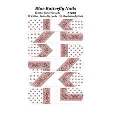 #1222 - Clear Red and Black Paisley Bandana Bandanna Nail Water Decals