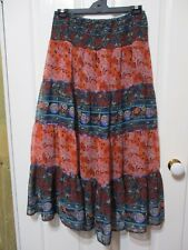 LADIES ROCKMANS FLORAL PEASANT STYLED LONG SKIRT SIZE 14
