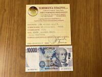 REPUBBLICA BANCONOTA LIRE 10000 VOLTA K 1998 NUMERI BASSI RARA certificata FDS