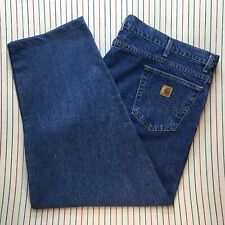 744 Carhartt Jeans Workwear Tapered Relaxed Mens *Tailored Denim Size 50 30 BLUE