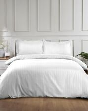 Satin Stripe Quilt Duvet Cover Bedding Set With Pillowcase Single Double King