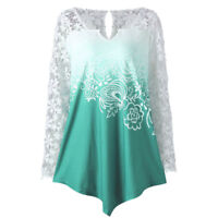 Fashion Women Splicing Printing Lace Long Sleeve Shirt Casual Tops Ladies Blouse