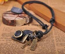 N215 Black COOL Biker Camera Pendant Leather Cord Long Necklace Men's NEW