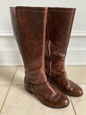 UGG Women's Channing II Riding Boots Brown Leather Metal Stirrup Side Zip Size 6