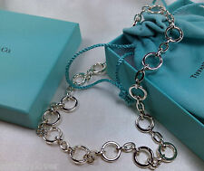 """NEW Tiffany & Co. Open Clasping Round Oval Link Necklace 16"""" Pendant Silver 925"""
