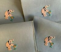 8 Vintage Cocktail Napkins Embroidered ELEPHANT With a Cocktail MCM Barware NOS