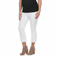 Cropped Maternity Jeans White Denim 2 / XS a Glow Crop Kick Flare Pants