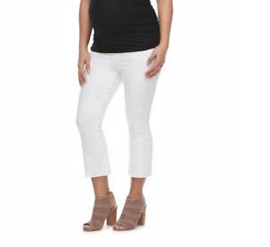 Cropped Maternity Jeans NEW White Denim 2 / XS NWT a glow Crop Kick Flare Pants