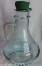 Italian Green Glass Bottle with Spout and Rubber Stopper