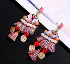 Coin Earrings Tassel Fringe Eardrop Shs Elegant Women Colorful String Faux Pearl