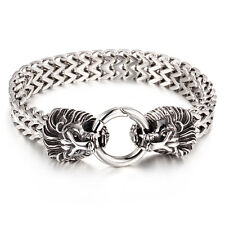 Silver Large Stainless Steel Mens Bracelet Biker Lion Head Chain Bangle 24mm 9''