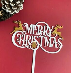 Reusable Acrylic White And Gold Merry Christmas Cake Topper