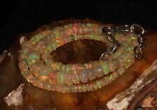 """41 Carat 16"""" 2 to 6 mm Natural Ethiopian Welo Fire Opal Bead Necklace -01614"""