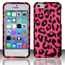 Apple iPhone 5C Rubberized HARD Protector Case Snap Phone Cover Hot Pink Leopard
