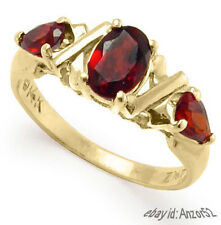 14k Solid Yellow Gold Three Stone Genuine Garnet Ring Sizes 4 to 9.5 #R399