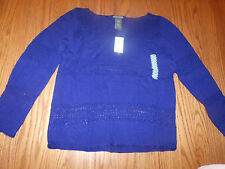 NWT WOMENS CHELSEA & THEODORE LONG SLEEVE SWEATER BLUE SMALL S