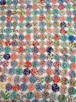 Antique Feedsack Yo Yo Suffolk Puff Handmade Quilt Top Vintage 56x80 1930s 1940s