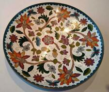 Chinese Cloisonne Plate White with Flowers and Butterflies