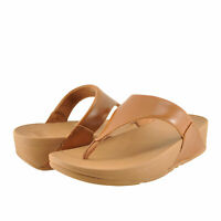 Women's Shoes Fitflop LULU Leather Toe Post Wedge Sandals I88-592 LIGHT TAN