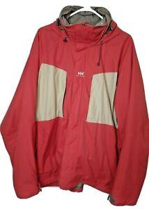 Helly Hanson Mens XL Winter Sports Red Ski Snow Boarding Jacket Hooded Full Zip