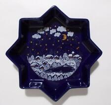 "Waechtersbach Winter Dreams Star Dish Royal Blue Germany Pottery 9"""