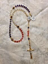 "Hand Designed ""USA COAST GUARD ROSARY"" CZECH  Beads, St. Michael Center *NEW*"