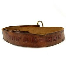 Vintage Rifle-Man Hand Tooled Western Leather Belt Horse Ranch Hunting Scene 41""