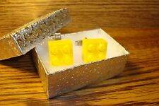 YELLOW LEGO Block Design Cuff links 1 Pair (Two) Hamilton Silver Plated  $2.50