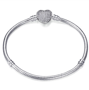 SPARKLING HEART PAVE SILVER CLASP SNAKE CHAIN SILVER PLATED BRACELET CHARMS BEAD