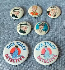 Vintage kelloggs 1940's pep Pinback & Dick Tracy Pinback Buttons Lot Of 7