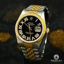 Rolex Datejust 36mm Black Roman Numerals 18K 2 Tones