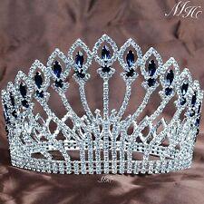 "Stunning Full Round Tiara 5"" Blue Rhinestone Crown Wedding Bridal Pageant Party"