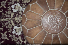 NEW Moroccan Leather Ottoman Pouffe Pouf Footstool In Mixed Light Tan