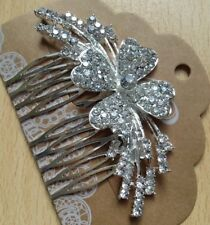 Un impresionante diseño de la Flor Diamanté Plata Peine de Cabello para Boda/Novia/Baile de graduación