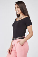 Ladies New Look Shirred short-sleeved Super Stretchy Quality Body Fit Tops