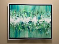 "Green abstract original acrylic modern canvas painting 16"" x 20"" new"
