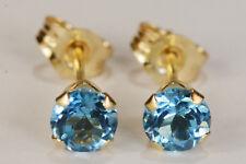 BEENJEWELED GENUINE MINED SWISS BLUE TOPAZ EARRINGS~14 KT YELLOW GOLD~4MM