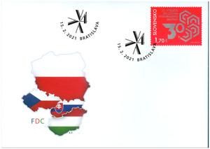 2021 FDC Slowakei SLOVAKIA Joint Issue Visegrad Group 30 years Vysehrad