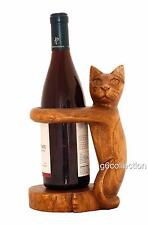 Wooden Hand Carved Siamese Cat Bottle Wine Rack Holder Home Decor Gift Art Wood