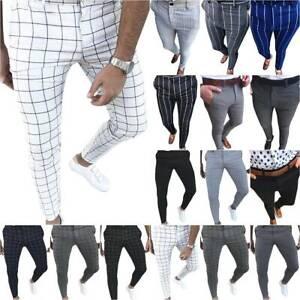 Men's Slim Skinny Business Trousers Formal Work Casual Smart Dress Suit Pants