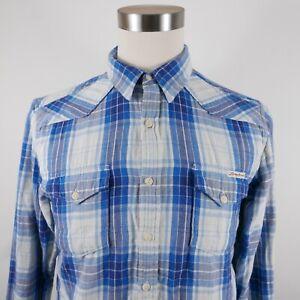 Lucky Brand Mens Slim Fit LS Button Down Blue Plaid Casual Dress Shirt Medium