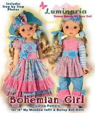 "Bohemian Girl Digital Pdf Dress Pattern Fits 18"" My Meadow Saffi Bailey Msd Bjd"