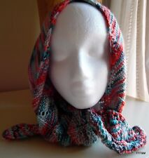 Hand Knit Women's Scarf Multi Color Style Hipster Chevron Pattern Blue Orange
