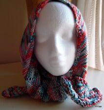 Hand Knit Women's Scarf Multi Color Style Hipster Chevron Pattern Blue Orange