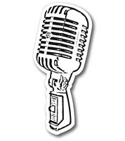 VINTAGE MICROPHONE MIC OUTDOOR DECAL STICKER OUTDOOR US MADE